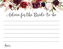 Dark Watercolor Roses Bridal Shower Advice Cards