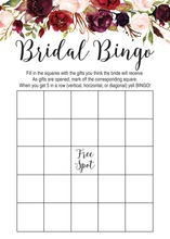 Dark Watercolor Roses Bridal Bingo