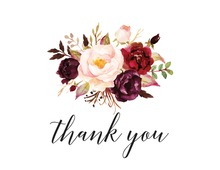Dark Watercolor Roses Thank You Cards