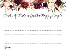 Dark Watercolor Roses Happy Couple Advice Cards