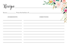 Watercolor Bouquet Recipe Cards