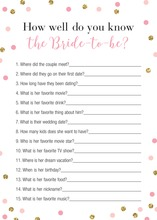 Pink Faux Gold Glitter Dots Who Knows Bride Best Game