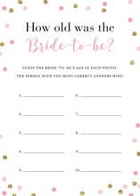 Pink Faux Gold Glitter Dots How Old Was The Bride-to-be Game