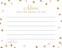 Pink Faux Gold Glitter Dots Advice Cards