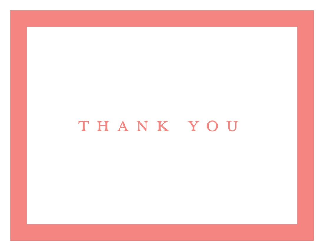 simple coral border thank you cards