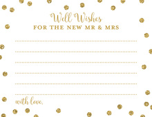 Gold Glitter Graphic Dots Well Wishes Cards