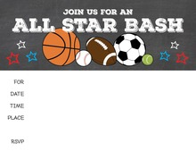 Sports Party Fill in Invitations