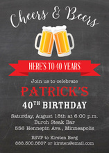 Red Banner Beer Party Invitations