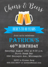 Blue Banner Beer Party Invitations