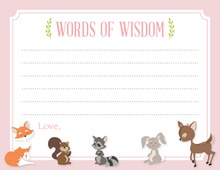Woodland Animals Pink Border Advice Cards