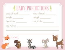 Woodland Animals Pink Border Baby Predictions