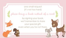 Woodland Animals Pink Border Bring A Book Card