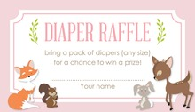 Woodland Animals Pink Border Diaper Raffle Cards