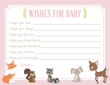 Woodland Animals Pink Border Baby Wishes