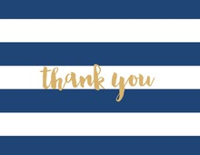 Navy Horizontal Stripes Gold Script Thank You Note