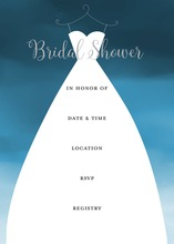 Wedding Dress Navyt Bridal Shower Fill-in Invitations
