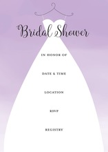 Wedding Dress Purple Bridal Shower Fill-in Invitations