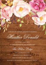 Dark Wood Watercolor Rose Bouquet Invitations