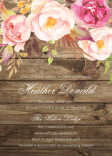 Light Wood Watercolor Rose Bouquet Invitations