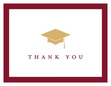 Gold Graduation Cap Red Border Thank You Cards