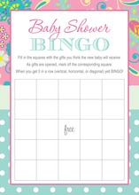 Pink Paisley Aqua Polka Dots Baby Shower Bingo Game