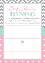 Grey Chevrons Pink Polka Dots Baby Shower Bingo Game