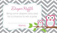 Pink Adorable Hoot Raffle Cards
