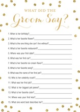 Faux Gold Glitter Dots What Did The Groom Say Game