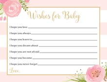 Light Pink Stripes Watercolor Flowers Baby Wishes