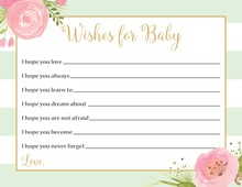 Mint Stripes Watercolor Flowers Baby Wishes
