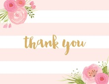 Light Pink Stripes Watercolor Flowers Thank You Note