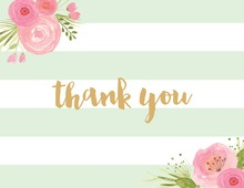 Mint Horizontal Stripes Watercolor Flowers Thank You Note