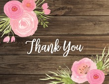 Dark Wood Watercolor Flowers Thank You Note