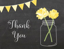 Yellow Flowers Mason Jar Chalkboard Banner Note