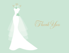 Wedding Dress Mint Flowers Thank You Cards