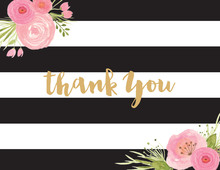 Black Stripes Watercolor Flowers Thank You Cards