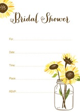 Yellow Sunflowers Mason Jar Fill-in Invitations
