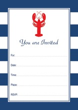 Navy Stripes Lobster Dinner Party Fill-in Invitations