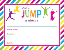 Bright Multicolored Stripes Jumping Kids Fill-in Invitations