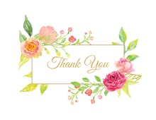 Rose Corner Frame Thank You Note