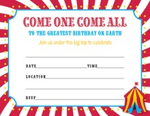 Kids Carnival Party Fill-In Invitations
