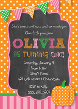 Pink Little Pumpkin Chalkboard Invitations