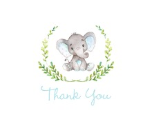 Blue Elephants Baby Shower Thank You Note