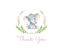 Pink Elephants Baby Shower Thank You Note