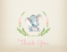 Pink Elephants Rustic Baby Shower Thank You Note