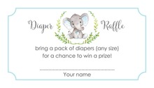 Blue Elephant Raffle Cards