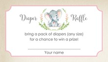 Pink Elephant Rustic Raffle Cards