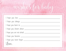 Pink Watercolor Wash Baby Wish Cards