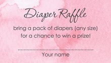 Pink Watercolor Wash Baby Raffle Cards