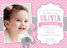 Pink Chevrons Elephant Photo Card